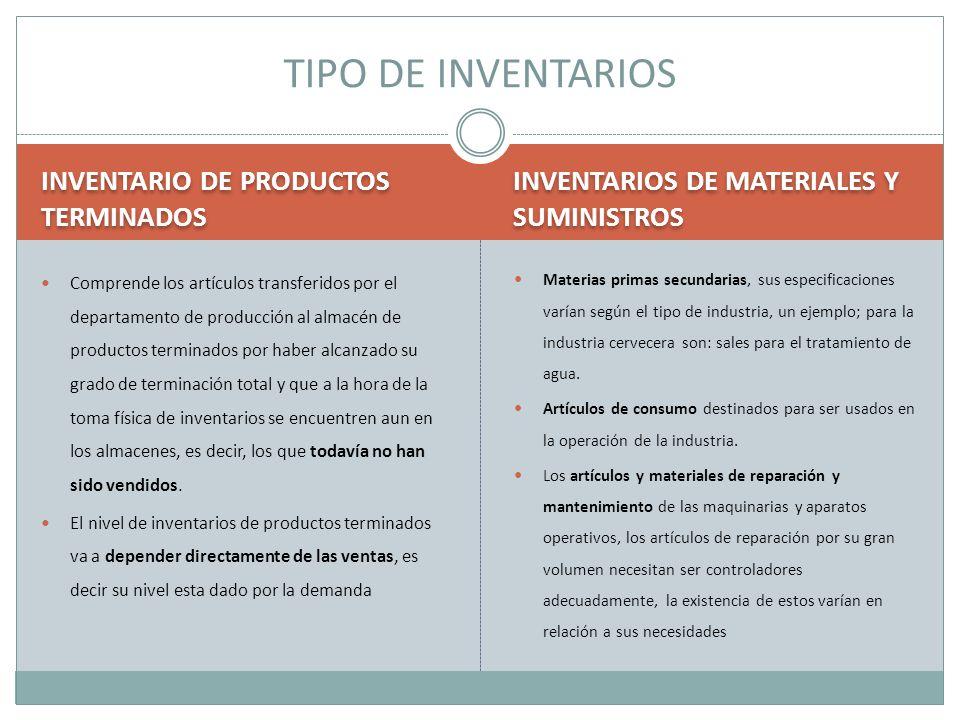 INVENTARIO DE PRODUCTOS TERMINADOS INVENTARIOS DE MATERIALES Y SUMINISTROS Comprende los artículos transferidos por el departamento de producción al a