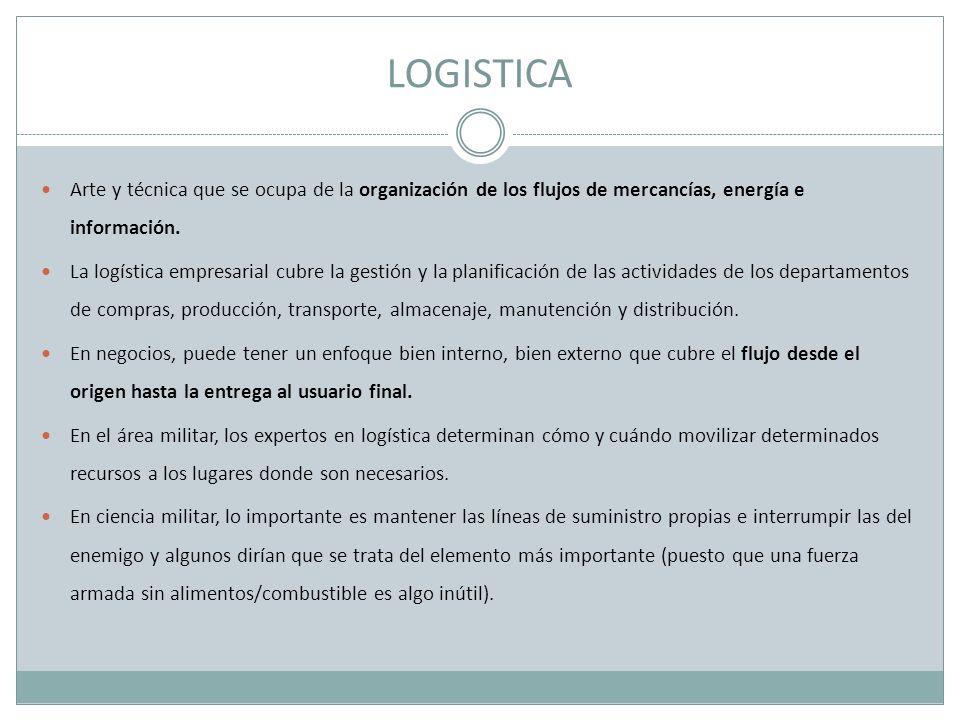 LOGISTICA Arte y técnica que se ocupa de la organización de los flujos de mercancías, energía e información. La logística empresarial cubre la gestión