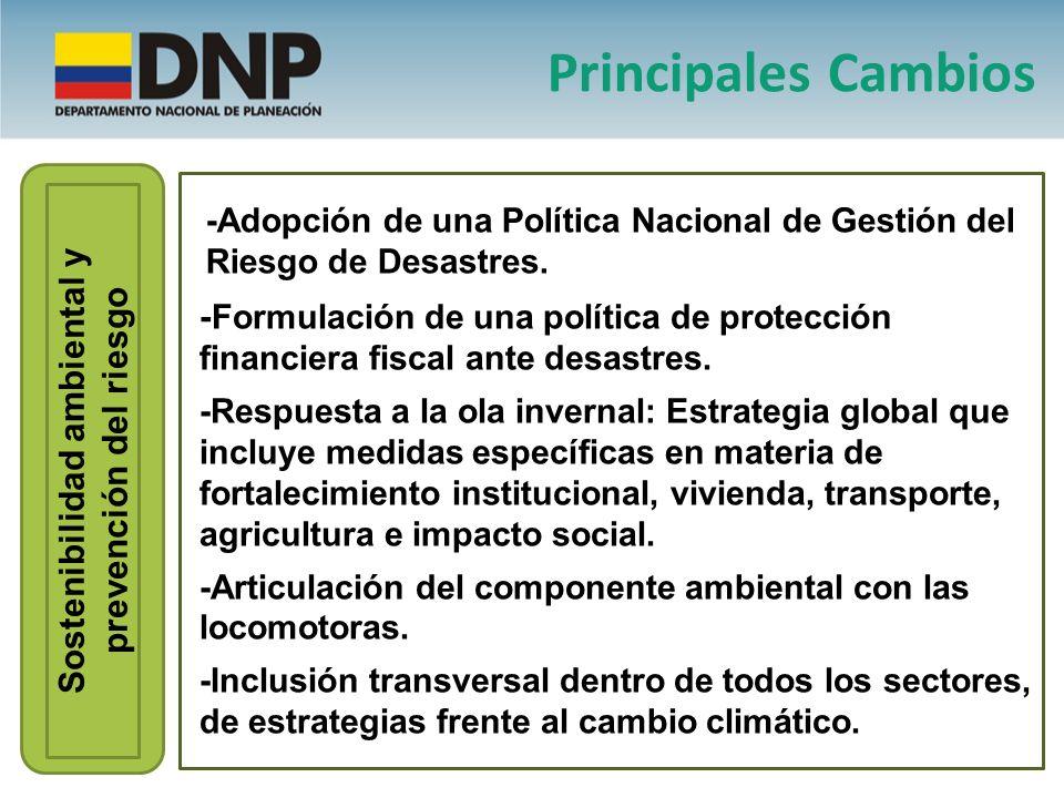 Sostenibilidad ambiental y prevención del riesgo - Formulación de una política de protección financiera fiscal ante desastres. -Respuesta a la ola inv