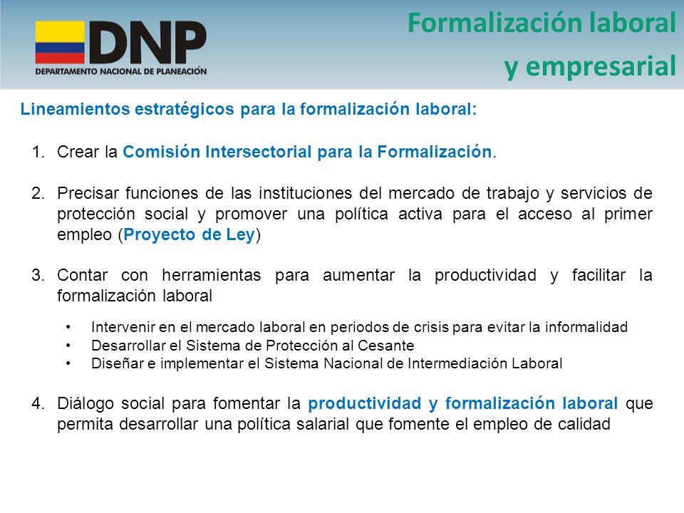Formalización laboral y empresarial Lineamientos estratégicos para la formalización laboral: 1.Crear la Comisión Intersectorial para la Formalización.