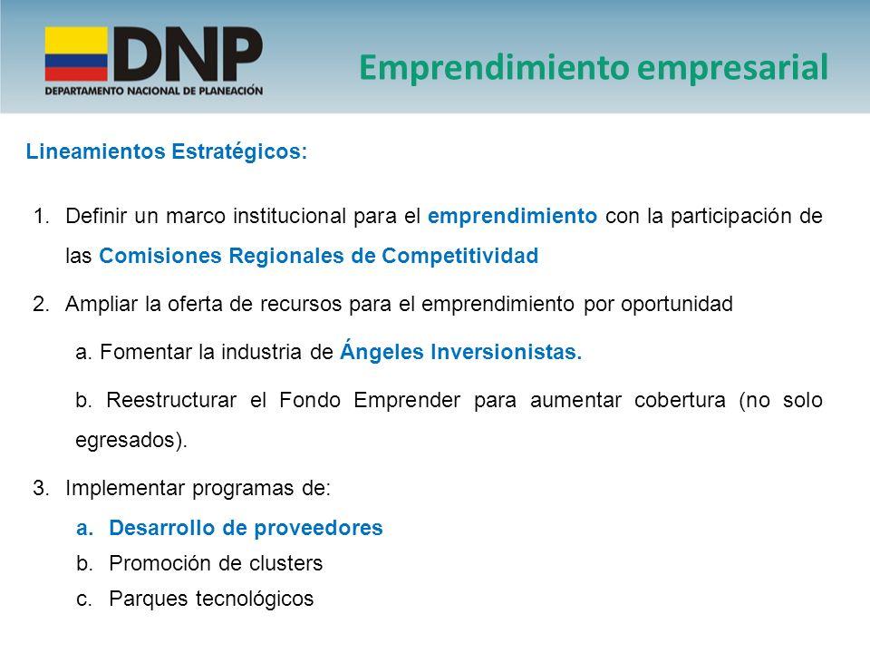 Lineamientos Estratégicos: 1.Definir un marco institucional para el emprendimiento con la participación de las Comisiones Regionales de Competitividad