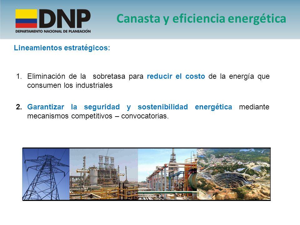 2.Garantizar la seguridad y sostenibilidad energética mediante mecanismos competitivos – convocatorias. 1.Eliminación de la sobretasa para reducir el