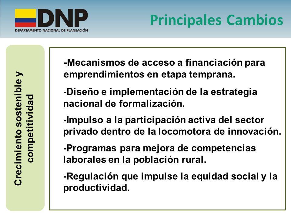 Crecimiento sostenible y competitividad -Diseño e implementación de la estrategia nacional de formalización. -Impulso a la participación activa del se