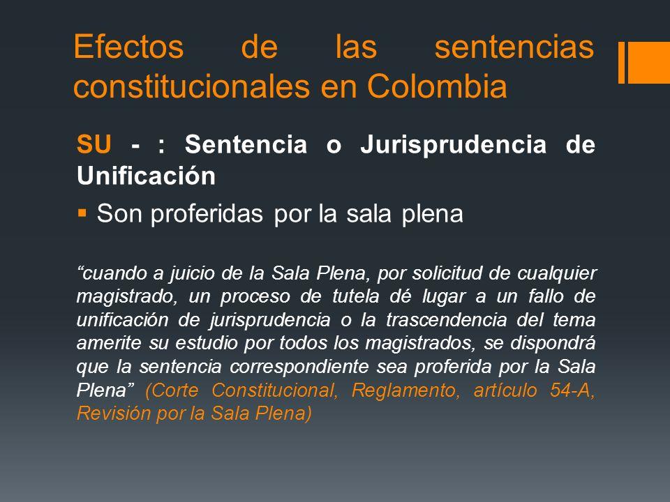 Efectos de las sentencias constitucionales en Colombia SU - : Sentencia o Jurisprudencia de Unificación Son proferidas por la sala plena cuando a juic