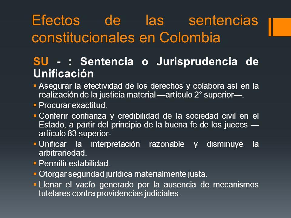 Efectos de las sentencias constitucionales en Colombia SU - : Sentencia o Jurisprudencia de Unificación Asegurar la efectividad de los derechos y cola
