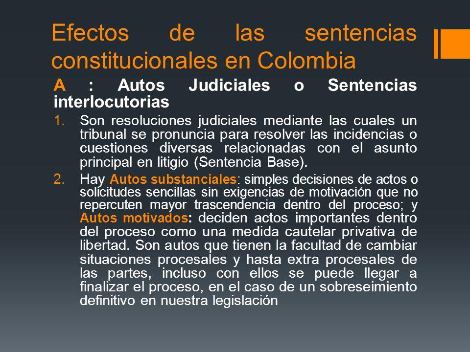 Efectos de las sentencias constitucionales en Colombia A : Autos Judiciales o Sentencias interlocutorias 1.Son resoluciones judiciales mediante las cu