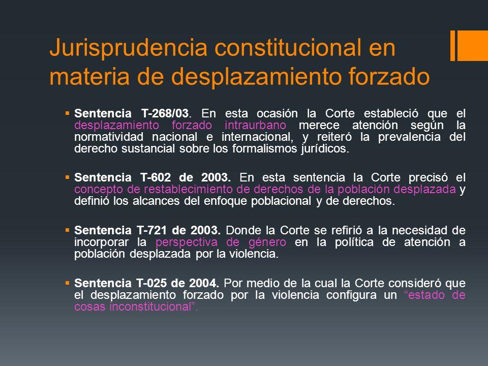 Jurisprudencia constitucional en materia de desplazamiento forzado Sentencia T-268/03. En esta ocasión la Corte estableció que el desplazamiento forza