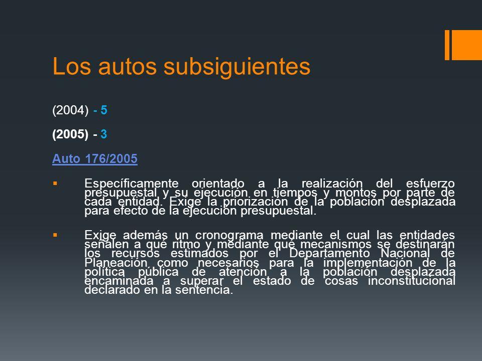 Los autos subsiguientes (2004) - 5 (2005) - 3 Auto 176/2005 Específicamente orientado a la realización del esfuerzo presupuestal y su ejecución en tie
