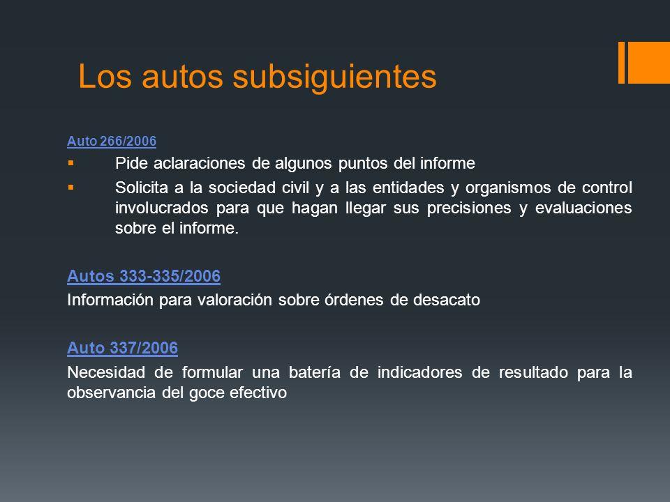 Los autos subsiguientes Auto 266/2006 Pide aclaraciones de algunos puntos del informe Solicita a la sociedad civil y a las entidades y organismos de c