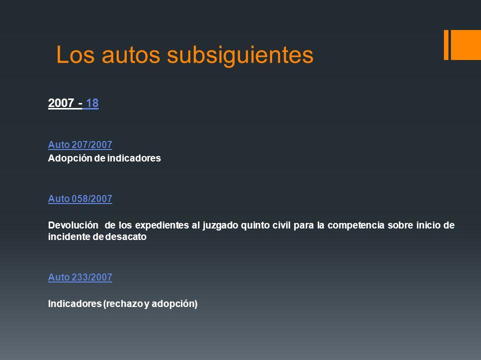 Los autos subsiguientes 2007 - 18 Auto 207/2007 Adopción de indicadores Auto 058/2007 Devolución de los expedientes al juzgado quinto civil para la co