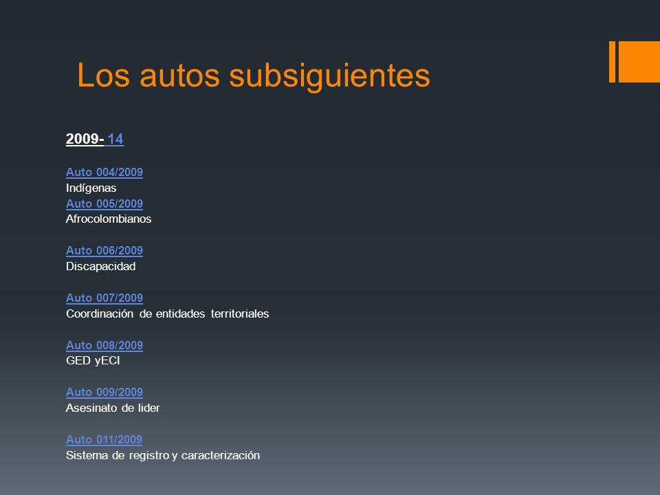 Los autos subsiguientes 2009- 14 Auto 004/2009 Indígenas Auto 005/2009 Afrocolombianos Auto 006/2009 Discapacidad Auto 007/2009 Coordinación de entida