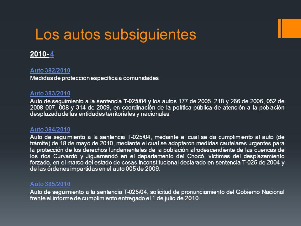 Los autos subsiguientes 2010- 4 Auto 382/2010 Medidas de protección específica a comunidades Auto 383/2010 Auto de seguimiento a la sentencia T-025/04