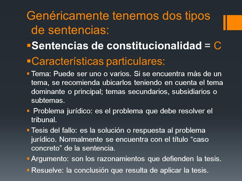 Genéricamente tenemos dos tipos de sentencias: Sentencias de constitucionalidad = C Características particulares: Tema: Puede ser uno o varios. Si se