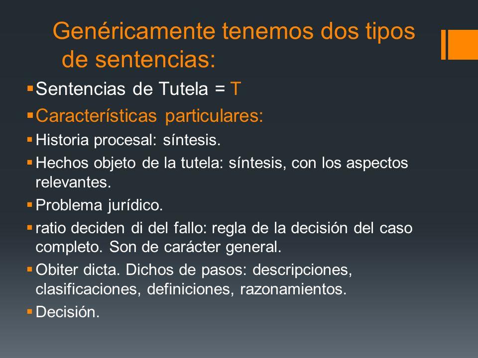 Genéricamente tenemos dos tipos de sentencias: Sentencias de Tutela = T Características particulares: Historia procesal: síntesis. Hechos objeto de la