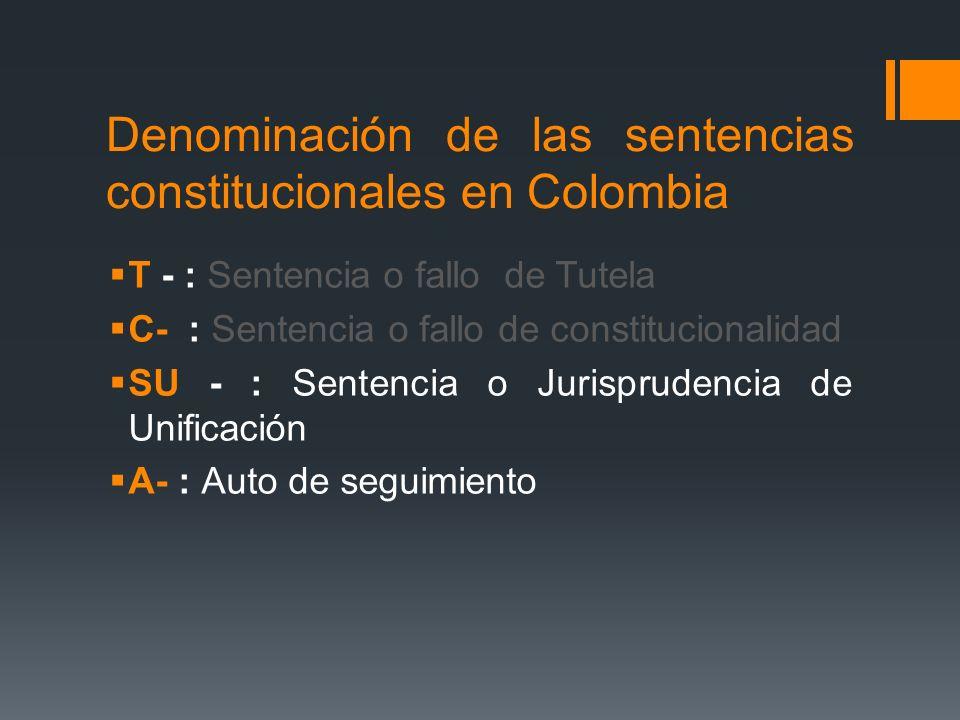 Denominación de las sentencias constitucionales en Colombia T - : Sentencia o fallo de Tutela C- : Sentencia o fallo de constitucionalidad SU - : Sent