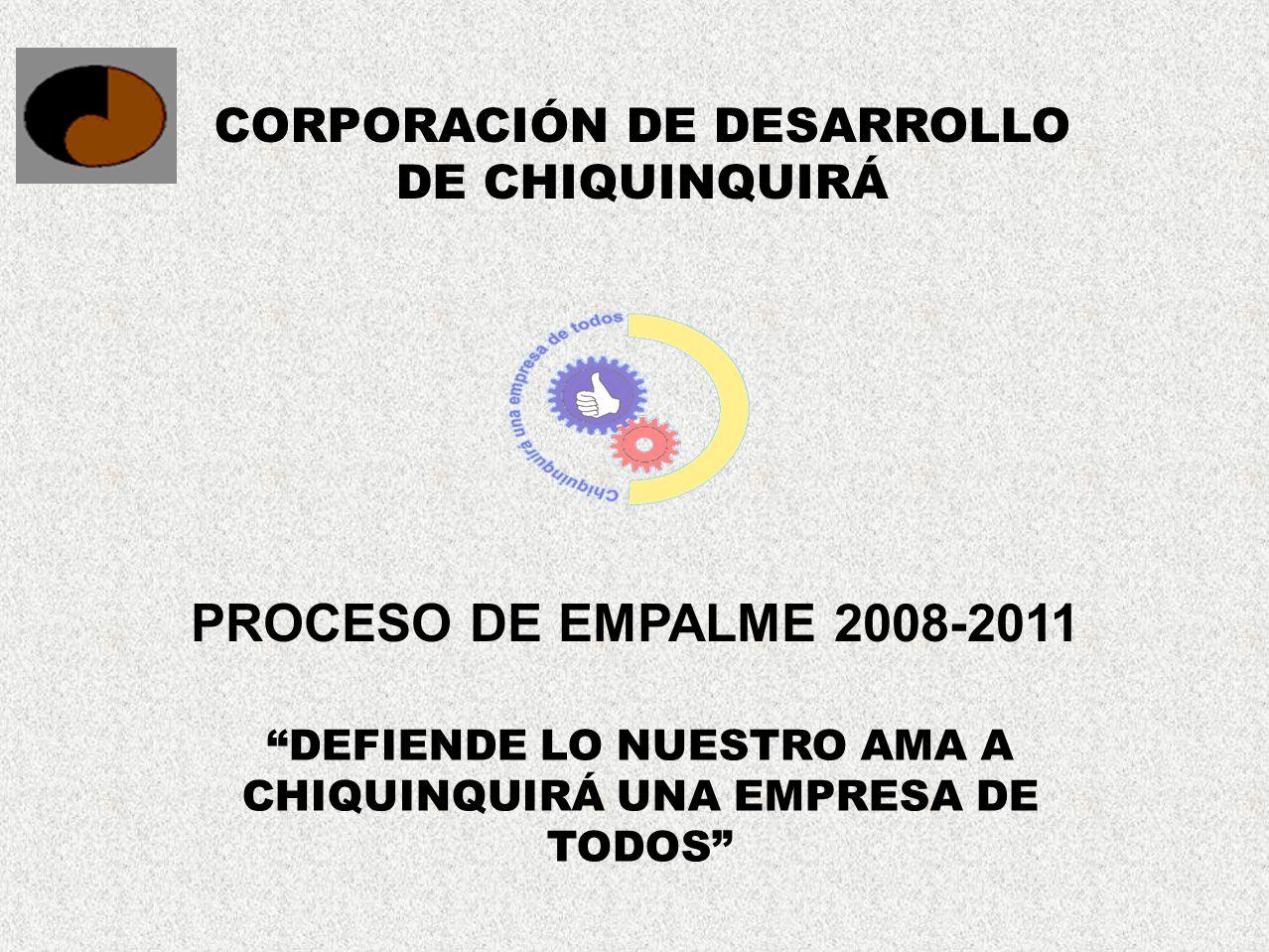 CORPORACIÓN DE DESARROLLO DE CHIQUINQUIRÁ DEFIENDE LO NUESTRO AMA A CHIQUINQUIRÁ UNA EMPRESA DE TODOS PROCESO DE EMPALME 2008-2011