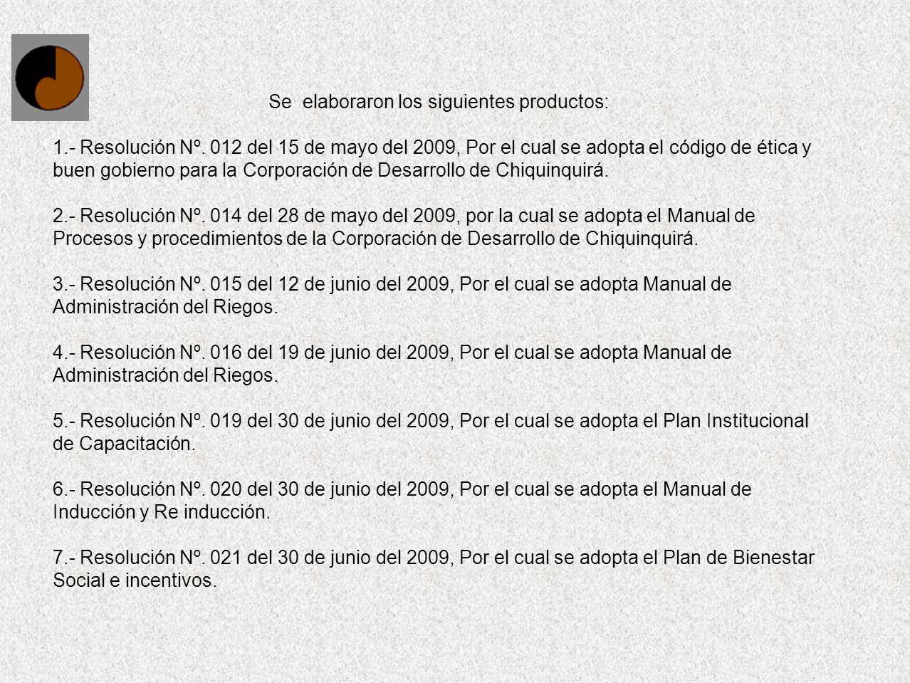 Se elaboraron los siguientes productos: 1.- Resolución Nº. 012 del 15 de mayo del 2009, Por el cual se adopta el código de ética y buen gobierno para