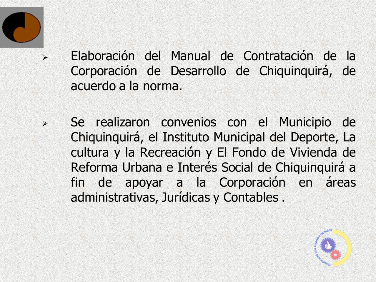 Elaboración del Manual de Contratación de la Corporación de Desarrollo de Chiquinquirá, de acuerdo a la norma. Se realizaron convenios con el Municipi