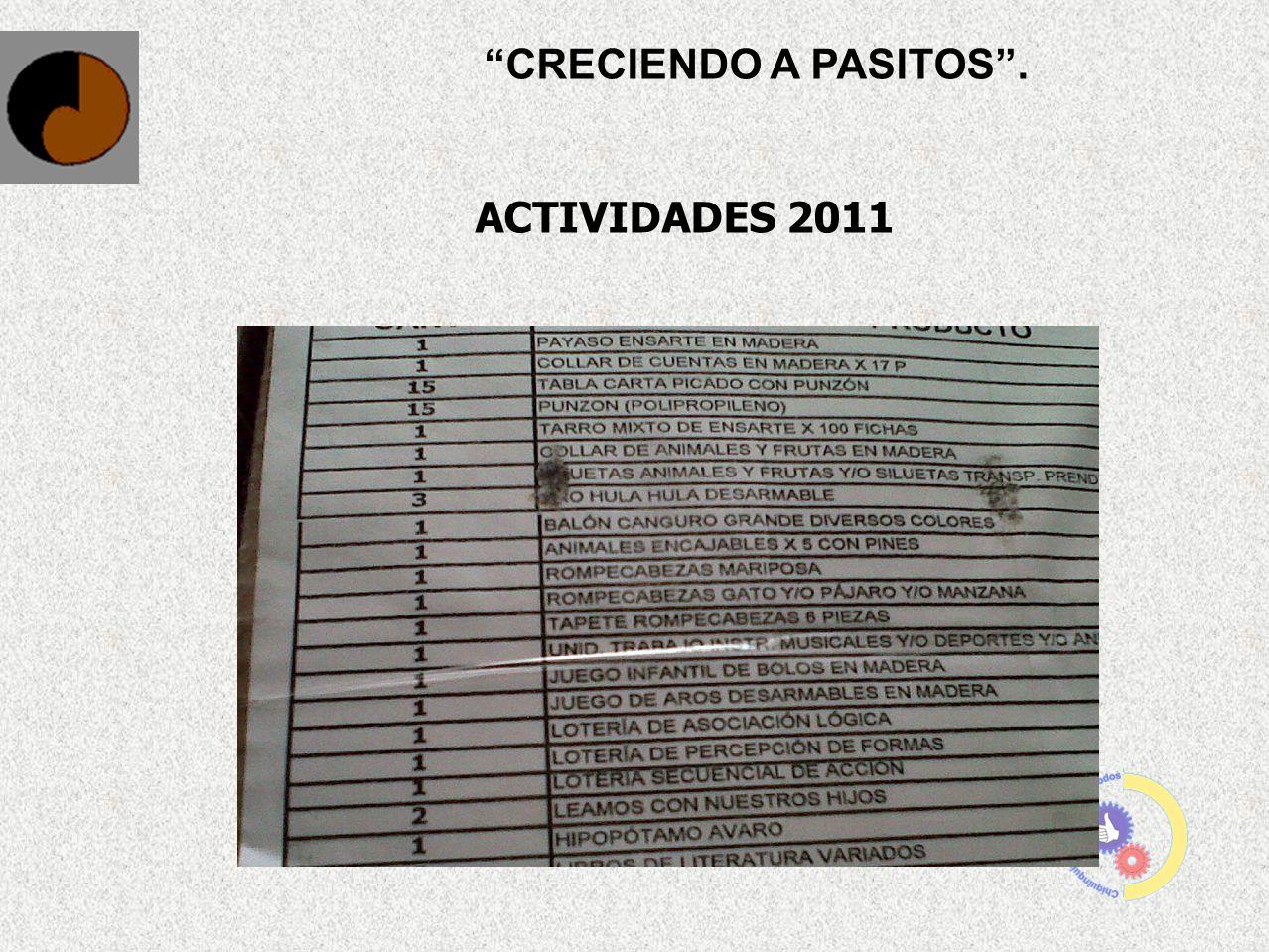 CRECIENDO A PASITOS. ACTIVIDADES 2011