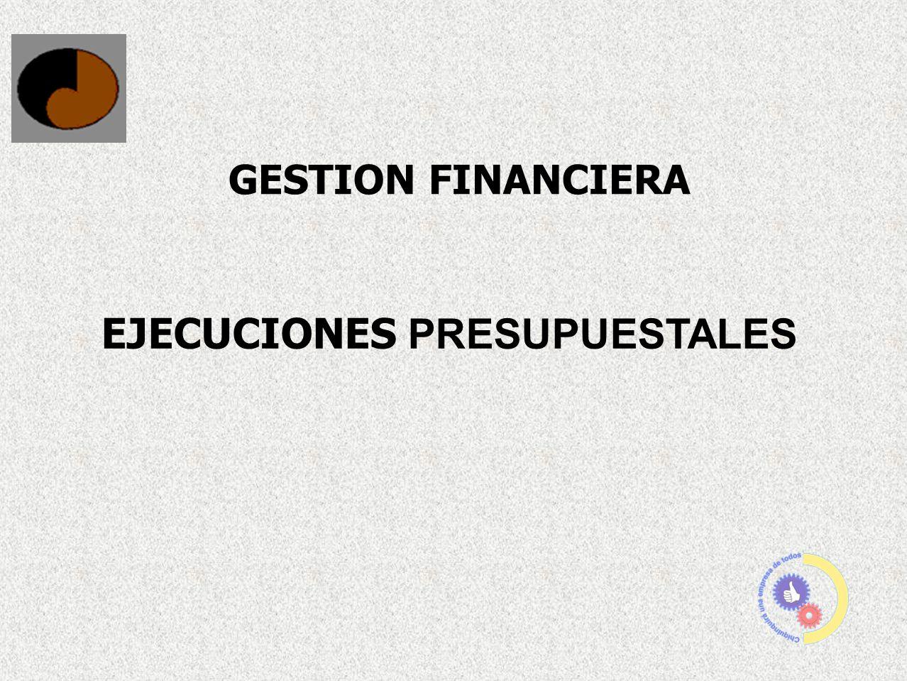 GESTION FINANCIERA EJECUCIONES PRESUPUESTALES