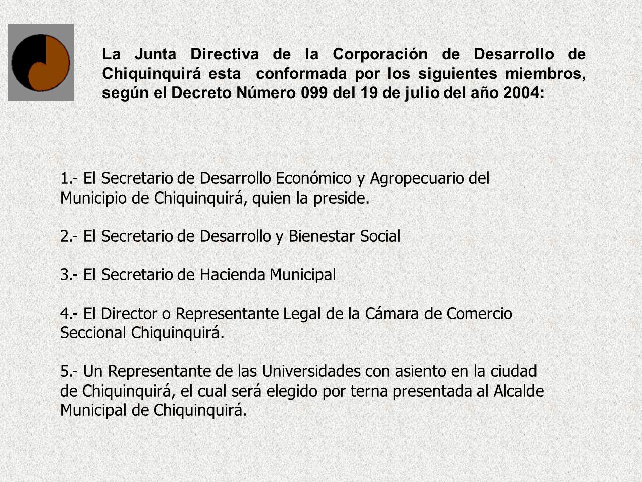1.- El Secretario de Desarrollo Económico y Agropecuario del Municipio de Chiquinquirá, quien la preside. 2.- El Secretario de Desarrollo y Bienestar