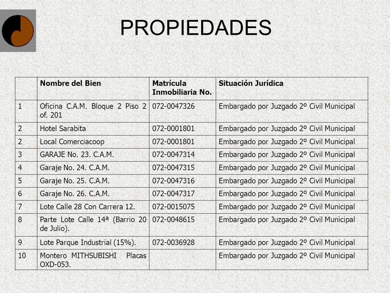 PROPIEDADES Nombre del BienMatrícula Inmobiliaria No. Situación Jurídica 1Oficina C.A.M. Bloque 2 Piso 2 of. 201 072-0047326Embargado por Juzgado 2º C