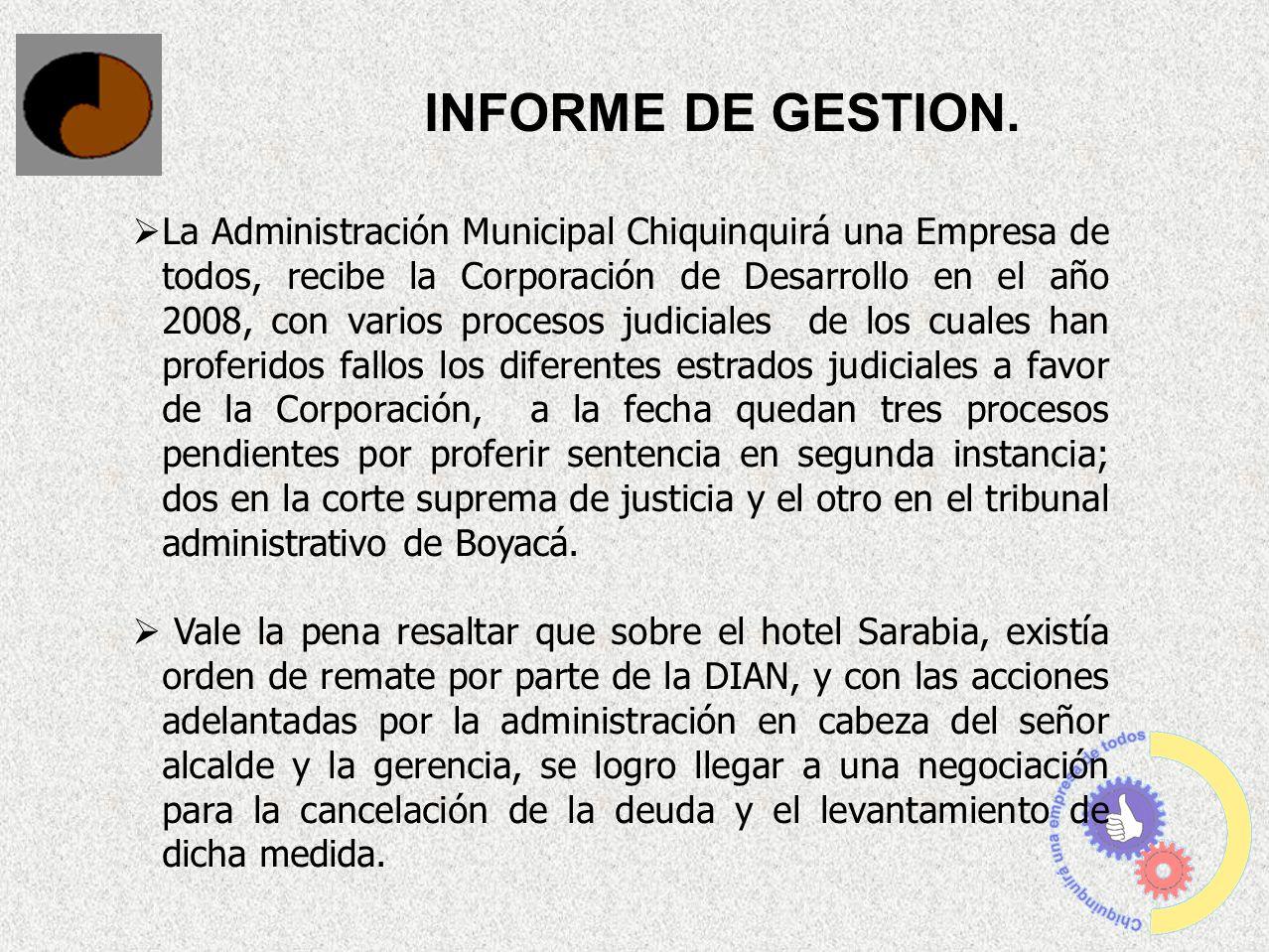 La Administración Municipal Chiquinquirá una Empresa de todos, recibe la Corporación de Desarrollo en el año 2008, con varios procesos judiciales de l