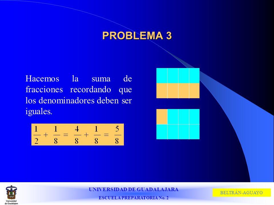 UNIVERSIDAD DE GUADALAJARA ESCUELA PREPARATORIA No. 2 BELTRÁN-AGUAYO PROBLEMA 3 Hacemos la suma de fracciones recordando que los denominadores deben s