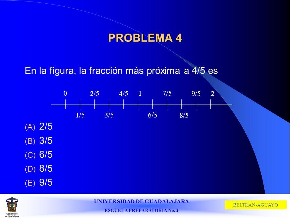 UNIVERSIDAD DE GUADALAJARA ESCUELA PREPARATORIA No. 2 BELTRÁN-AGUAYO PROBLEMA 4 En la figura, la fracción más próxima a 4/5 es (A) 2/5 (B) 3/5 (C) 6/5