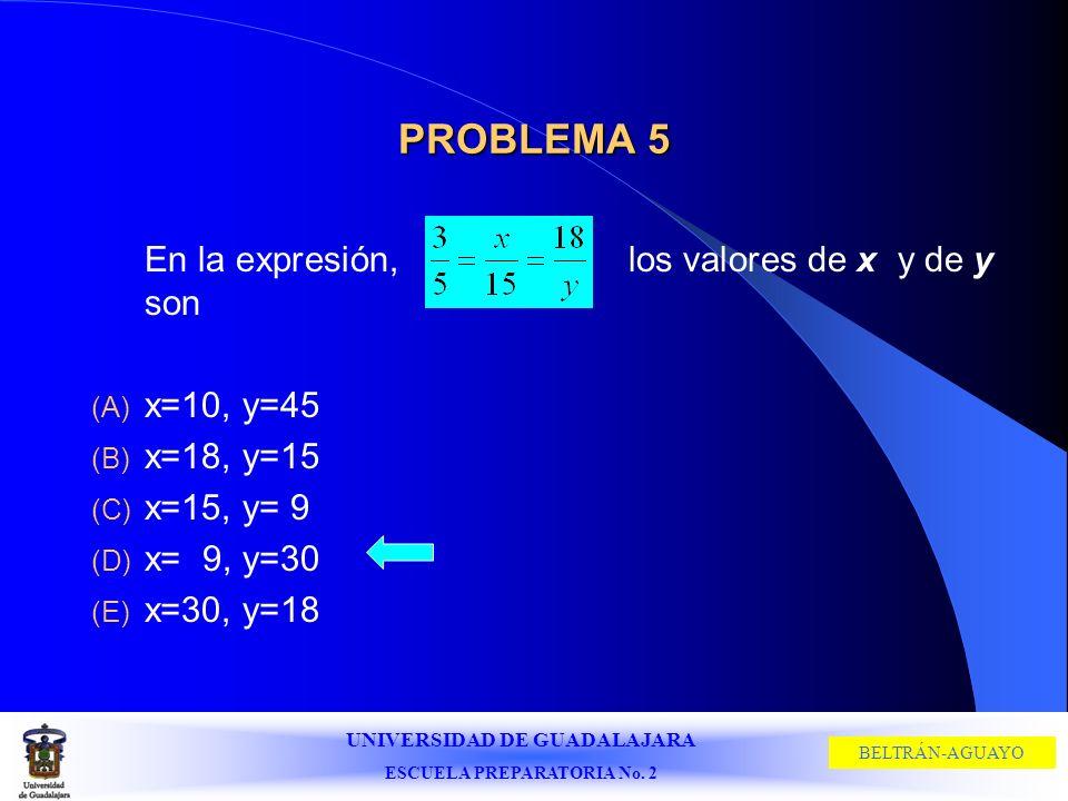 UNIVERSIDAD DE GUADALAJARA ESCUELA PREPARATORIA No. 2 BELTRÁN-AGUAYO PROBLEMA 5 En la expresión, los valores de x y de y son (A) x=10, y=45 (B) x=18,