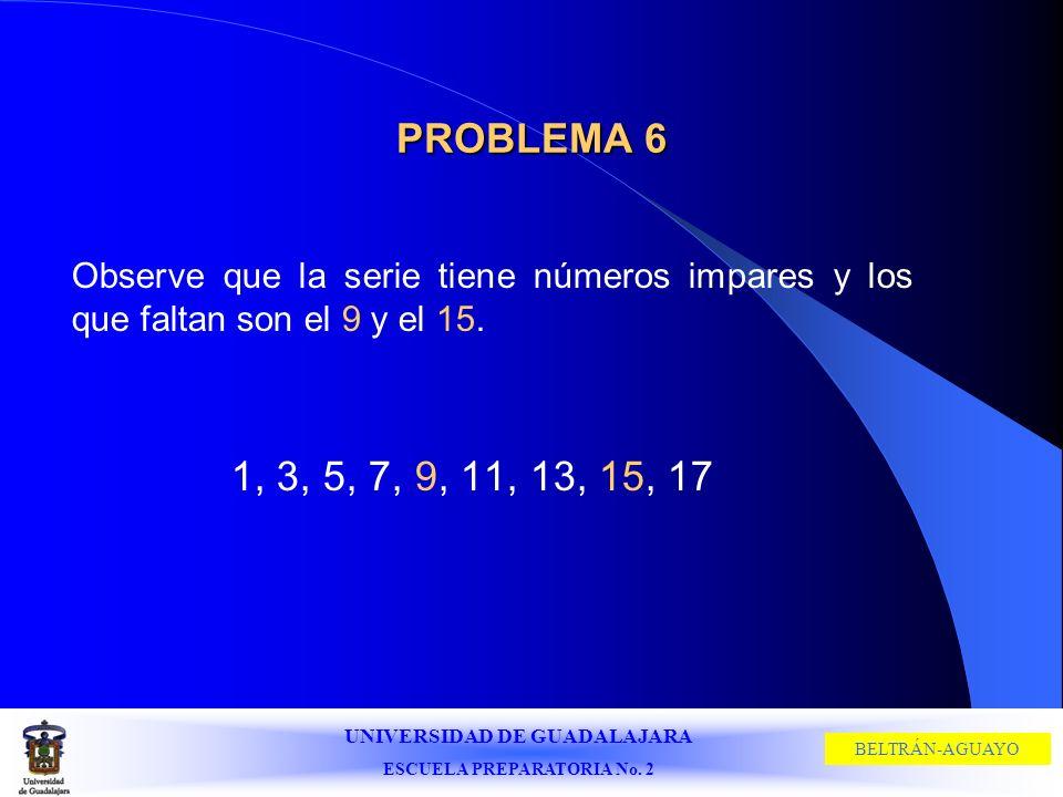 UNIVERSIDAD DE GUADALAJARA ESCUELA PREPARATORIA No. 2 BELTRÁN-AGUAYO PROBLEMA 6 Observe que la serie tiene números impares y los que faltan son el 9 y