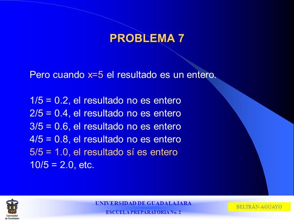 UNIVERSIDAD DE GUADALAJARA ESCUELA PREPARATORIA No. 2 BELTRÁN-AGUAYO PROBLEMA 7 Pero cuando x=5 el resultado es un entero. 1/5 = 0.2, el resultado no