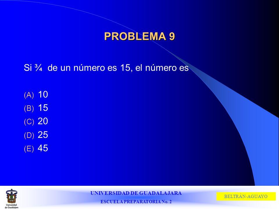 UNIVERSIDAD DE GUADALAJARA ESCUELA PREPARATORIA No. 2 BELTRÁN-AGUAYO PROBLEMA 9 Si ¾ de un número es 15, el número es (A) 10 (B) 15 (C) 20 (D) 25 (E)