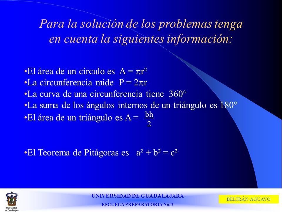 UNIVERSIDAD DE GUADALAJARA ESCUELA PREPARATORIA No. 2 BELTRÁN-AGUAYO Para la solución de los problemas tenga en cuenta la siguientes información: El á