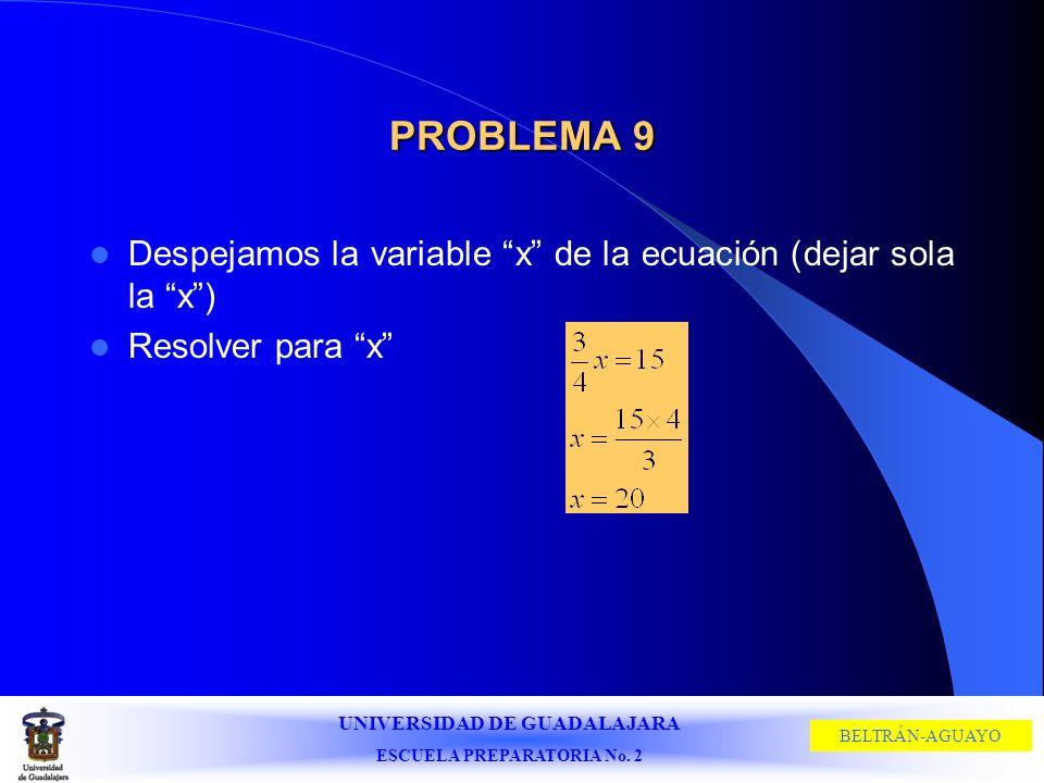 UNIVERSIDAD DE GUADALAJARA ESCUELA PREPARATORIA No. 2 BELTRÁN-AGUAYO PROBLEMA 9 Despejamos la variable x de la ecuación (dejar sola la x) Resolver par