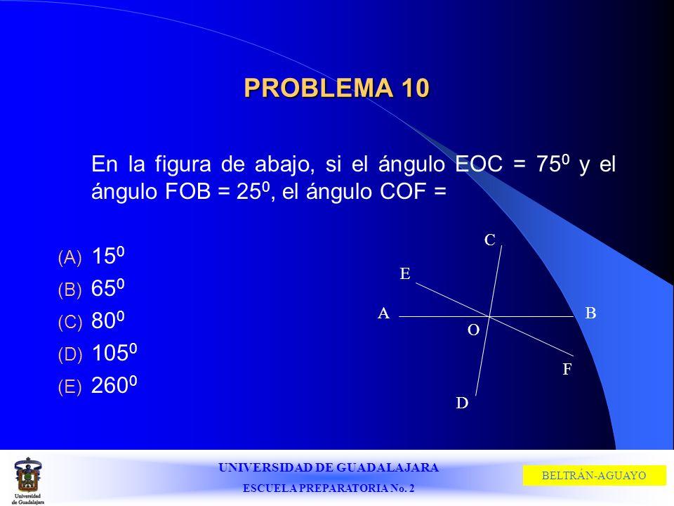 UNIVERSIDAD DE GUADALAJARA ESCUELA PREPARATORIA No. 2 BELTRÁN-AGUAYO PROBLEMA 10 En la figura de abajo, si el ángulo EOC = 75 0 y el ángulo FOB = 25 0