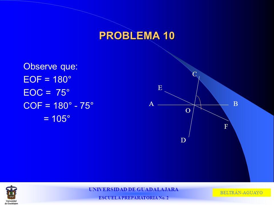 UNIVERSIDAD DE GUADALAJARA ESCUELA PREPARATORIA No. 2 BELTRÁN-AGUAYO PROBLEMA 10 Observe que: EOF = 180° EOC = 75° COF = 180° - 75° = 105° C D A E B F