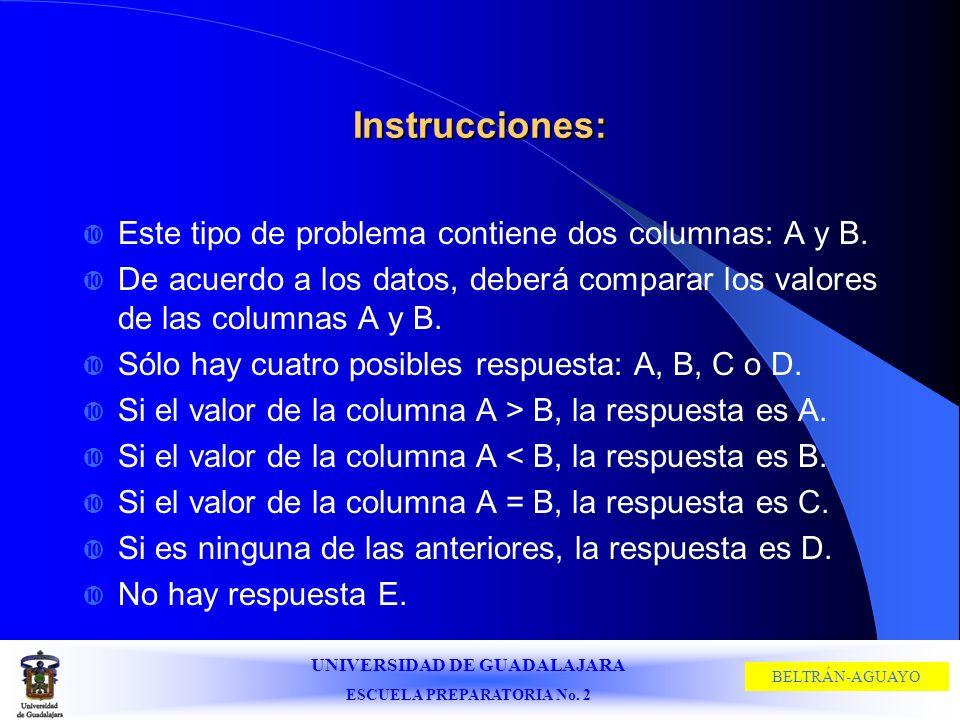 UNIVERSIDAD DE GUADALAJARA ESCUELA PREPARATORIA No. 2 BELTRÁN-AGUAYO Instrucciones: Este tipo de problema contiene dos columnas: A y B. De acuerdo a l