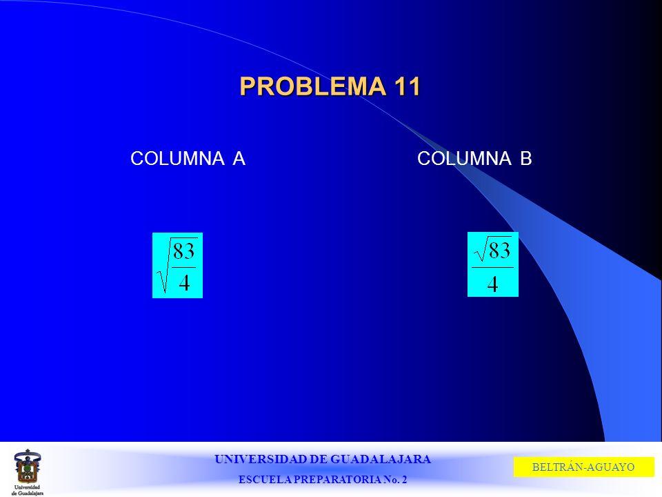 UNIVERSIDAD DE GUADALAJARA ESCUELA PREPARATORIA No. 2 BELTRÁN-AGUAYO PROBLEMA 11 COLUMNA ACOLUMNA B