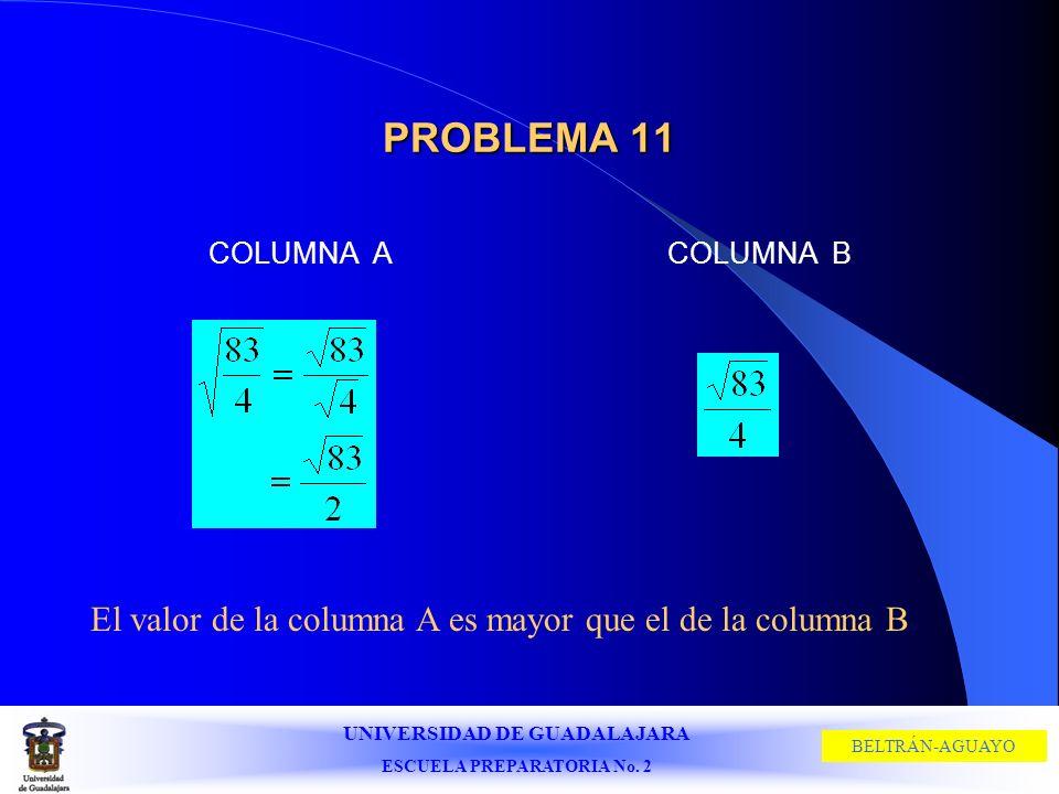 UNIVERSIDAD DE GUADALAJARA ESCUELA PREPARATORIA No. 2 BELTRÁN-AGUAYO PROBLEMA 11 COLUMNA ACOLUMNA B El valor de la columna A es mayor que el de la col