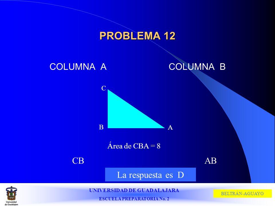 UNIVERSIDAD DE GUADALAJARA ESCUELA PREPARATORIA No. 2 BELTRÁN-AGUAYO PROBLEMA 12 COLUMNA ACOLUMNA B C B A Área de CBA = 8 CBAB La respuesta es D
