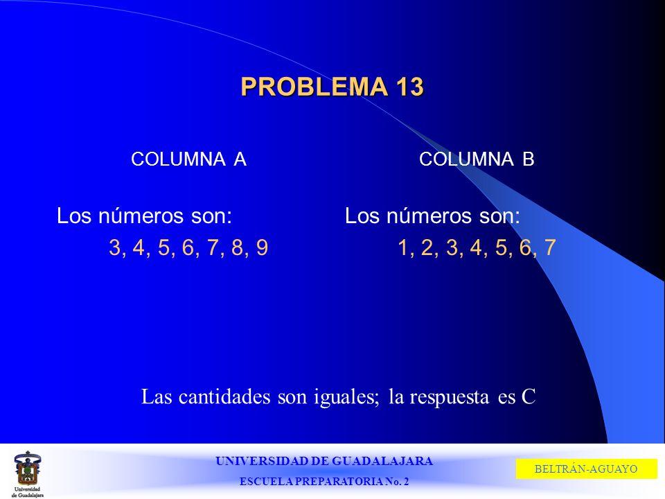 UNIVERSIDAD DE GUADALAJARA ESCUELA PREPARATORIA No. 2 BELTRÁN-AGUAYO PROBLEMA 13 COLUMNA A Los números son: 3, 4, 5, 6, 7, 8, 9 COLUMNA B Los números