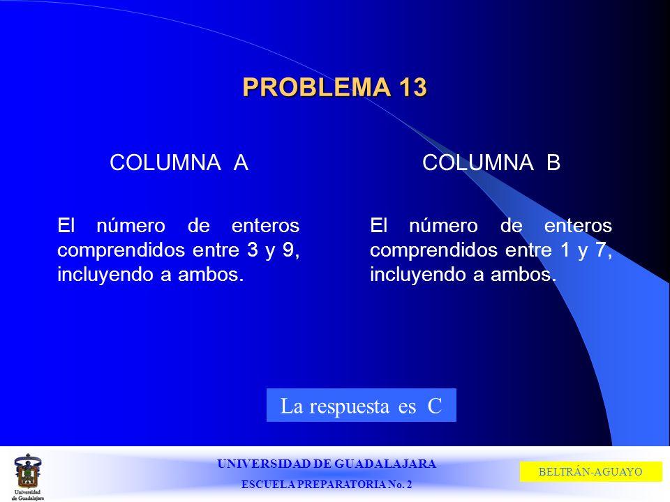 UNIVERSIDAD DE GUADALAJARA ESCUELA PREPARATORIA No. 2 BELTRÁN-AGUAYO PROBLEMA 13 COLUMNA A El número de enteros comprendidos entre 3 y 9, incluyendo a