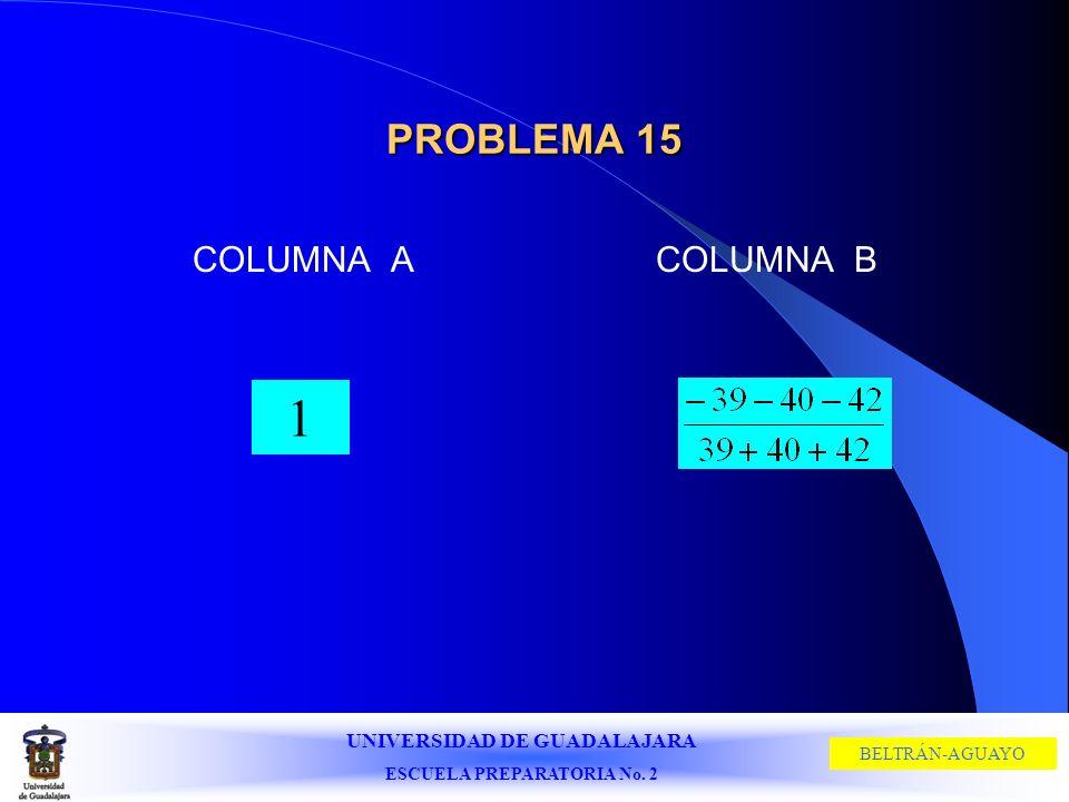 UNIVERSIDAD DE GUADALAJARA ESCUELA PREPARATORIA No. 2 BELTRÁN-AGUAYO PROBLEMA 15 COLUMNA ACOLUMNA B 1