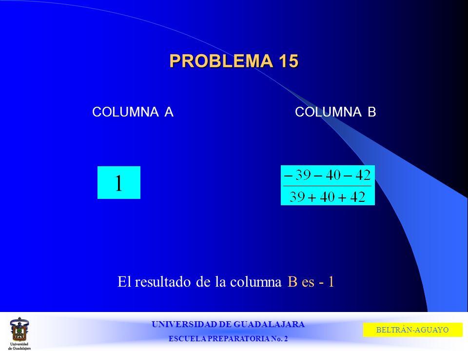 UNIVERSIDAD DE GUADALAJARA ESCUELA PREPARATORIA No. 2 BELTRÁN-AGUAYO PROBLEMA 15 COLUMNA ACOLUMNA B 1 El resultado de la columna B es - 1