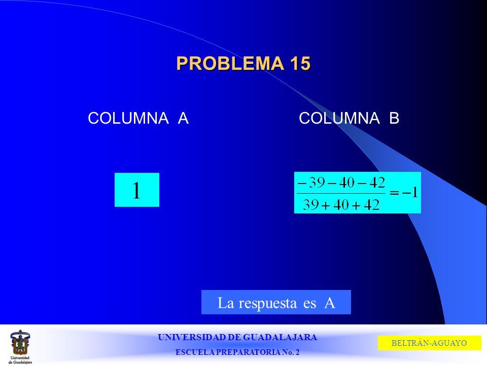 UNIVERSIDAD DE GUADALAJARA ESCUELA PREPARATORIA No. 2 BELTRÁN-AGUAYO PROBLEMA 15 COLUMNA ACOLUMNA B 1 La respuesta es A