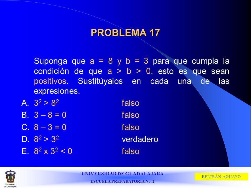 UNIVERSIDAD DE GUADALAJARA ESCUELA PREPARATORIA No. 2 BELTRÁN-AGUAYO PROBLEMA 17 Suponga que a = 8 y b = 3 para que cumpla la condición de que a > b >