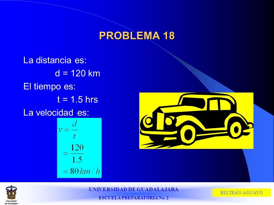 UNIVERSIDAD DE GUADALAJARA ESCUELA PREPARATORIA No. 2 BELTRÁN-AGUAYO PROBLEMA 18 La distancia es: d = 120 km El tiempo es: t = 1.5 hrs La velocidad es