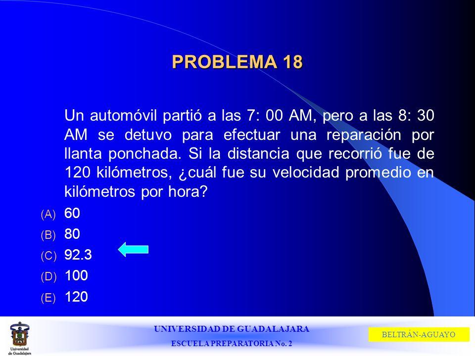 UNIVERSIDAD DE GUADALAJARA ESCUELA PREPARATORIA No. 2 BELTRÁN-AGUAYO PROBLEMA 18 Un automóvil partió a las 7: 00 AM, pero a las 8: 30 AM se detuvo par