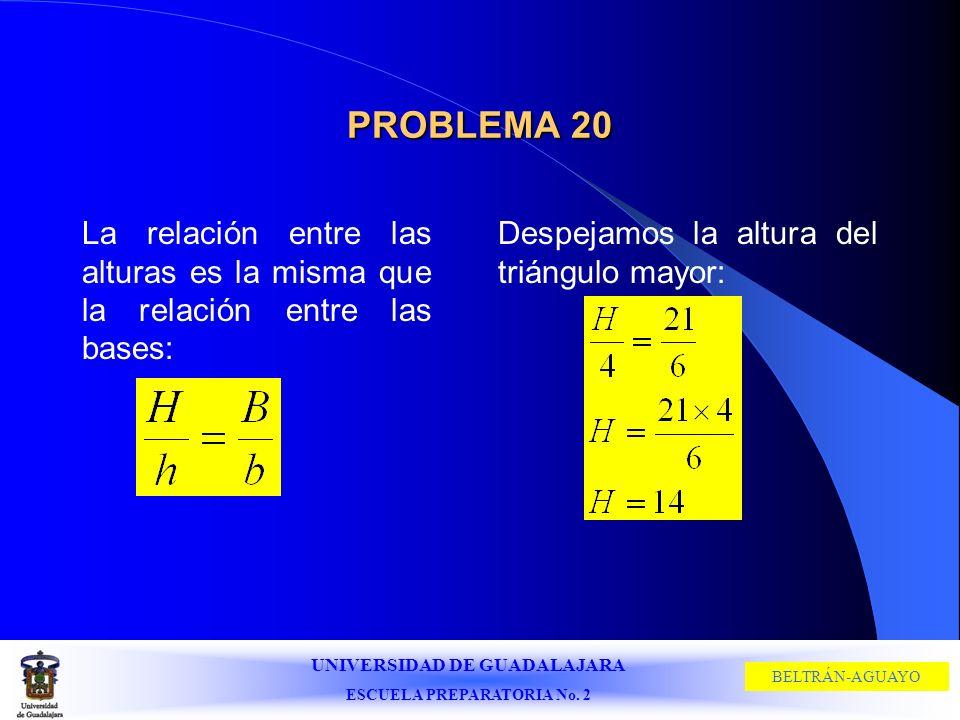 UNIVERSIDAD DE GUADALAJARA ESCUELA PREPARATORIA No. 2 BELTRÁN-AGUAYO PROBLEMA 20 La relación entre las alturas es la misma que la relación entre las b